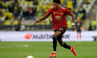 Marcus Rashford in action against Villarreal