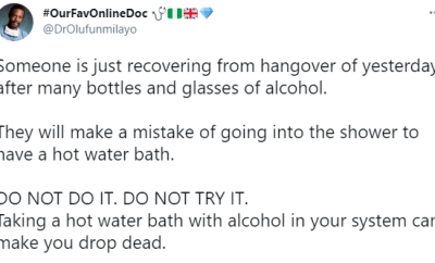 Taking a hot water bath with alcohol in your system can make you drop dead - Dr. Olufunmilayo