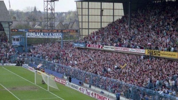 Fans in the west terrace of Hillsborough stadium