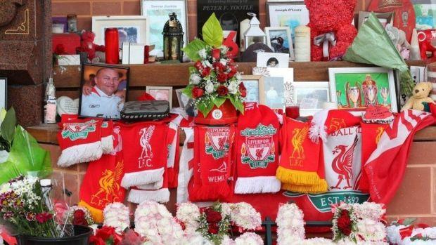 Flowers and tributes at Hillsborough memorial