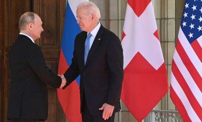 Vladimir Putin and Joe Biden shake hands at the Geneva summit (16 June)