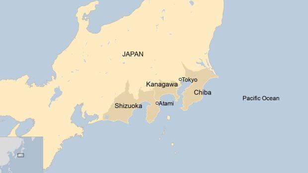 Map of Japan showing Atami