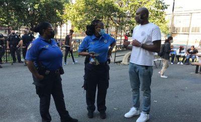 Policewomen that work in Community Affairs attended the birthday celebration for Davell Gardner Junior in Bedford-Stuyvesant, New York, on September 12, 2020.
