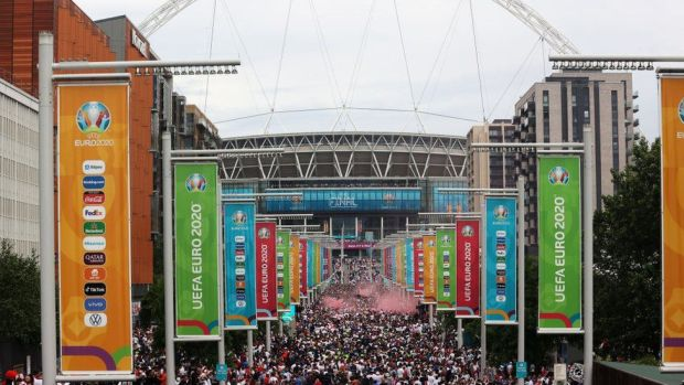 View of Wembley Stadium before the Euro 2020 final