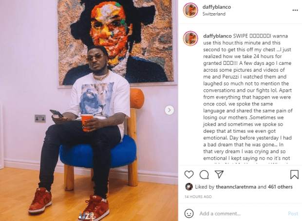 Peruzzi reacts after the lady who accused him of sexual assault, Daffy Blanco, revealed that she dreamt about him dying