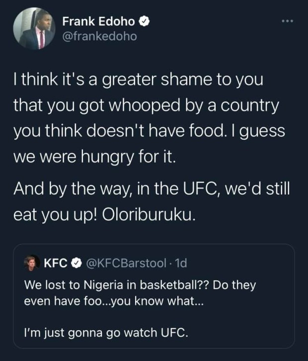 It?s a greater shame on you that you got whooped by a country you think doesn?t have food - Frank Edoho slams Sports Commentator, Kelvin Clancy over comment about Nigeria defeating USA in basketball