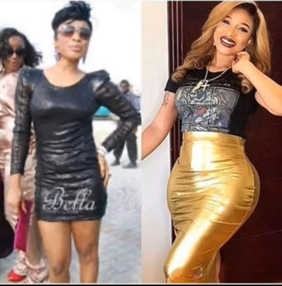 Tonto Dikeh compares her former body to her surgically-enhanced curves as she answers why she went under the knife