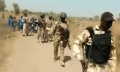 Soldiers accompany children to school in North-Eastern Nigeria (video)