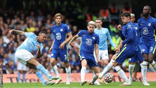 Gabriel Jesus, Manchester City, shot, Chelsea