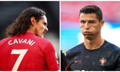 Cristiano Ronaldo thanks Edison Cavani after taking over Manchester United