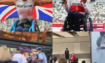 Nigerian lady, Karen Adenegan, who represented Britain in the 2020 Tokyo paralympics and won two medals receives rousing welcome from her family at the airport (video)