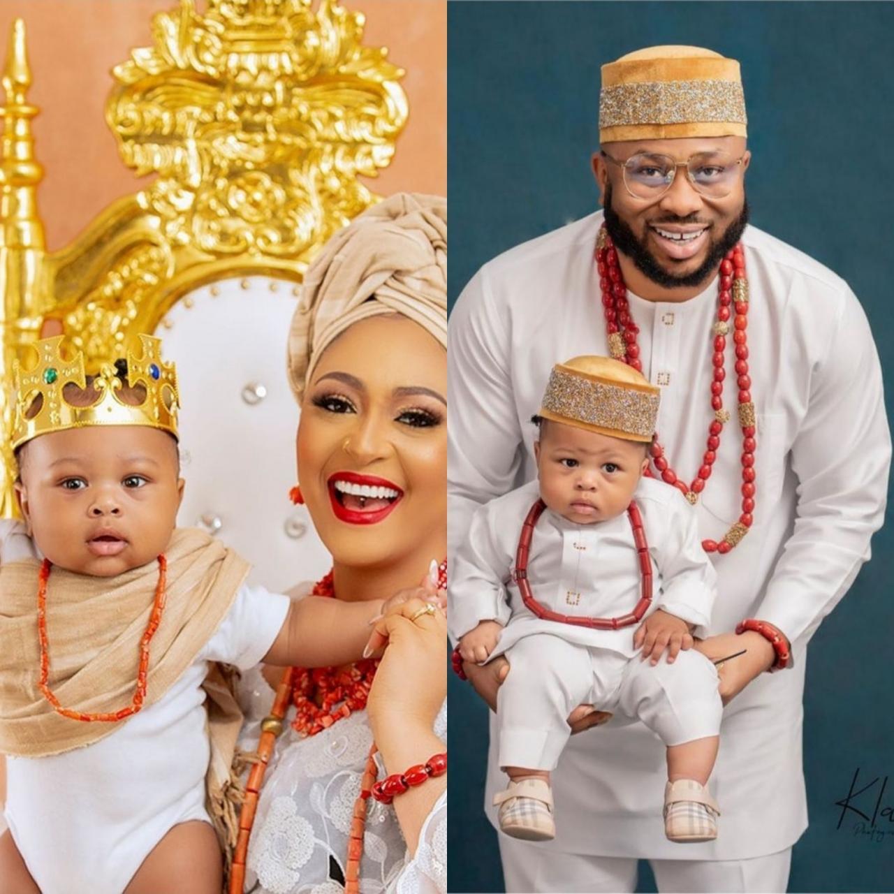 Olakunle Churchill and Rosy Meurer show their son