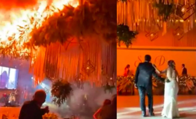 Wedding guests run for their lives as huge fire erupts at wedding reception while the new couple were having their first dance (video)
