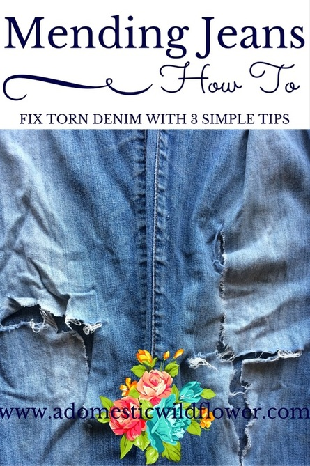 Mending Jeans: How to Fix Torn Denim   A Domestic Wildflower click for a great tutorial on fixing denim with a few important tips!