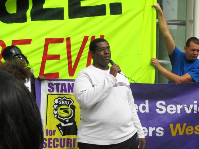 Charles, a tech company security guard, is asking for a living wage