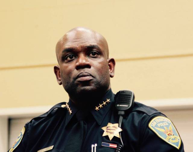 SFPD Chief Toney Chaplin at the NAACP meeting on Sunday.