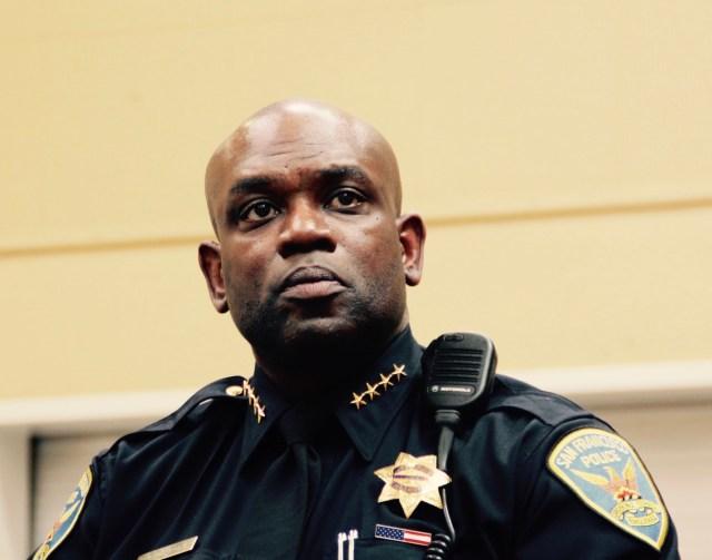 SFPD Chief Toney Chaplin at the NAACP meeting on Sunday.