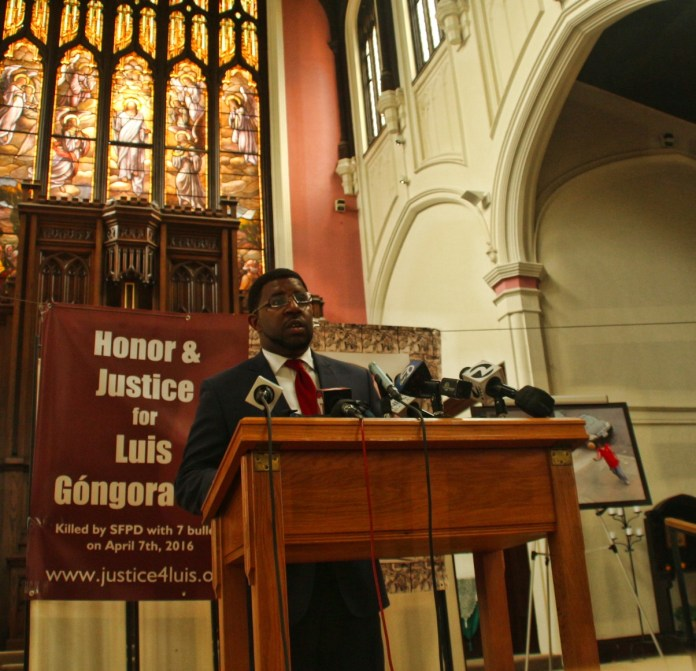 Adante Pointer, attorney with John Burris speaks at the meeting. Pointer also represents the family of Mario Woods and represented the family of Alex Nieto. Photo by Sana Saleem