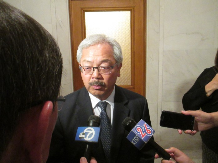 Mayor Lee refused to talk about the homeless policy measures by Farrell and Wiener