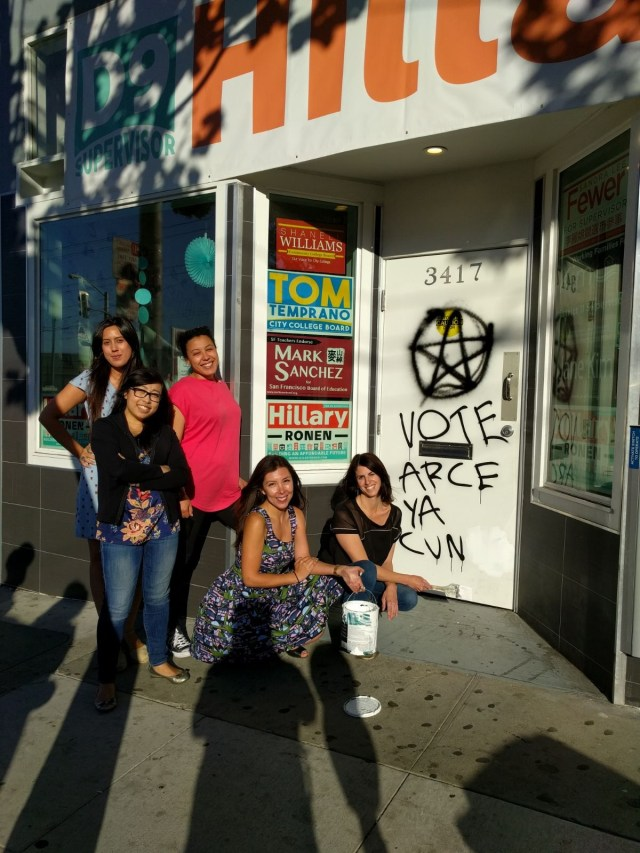 Hillary Ronen and her campaign staff paint out misogynist graffiti