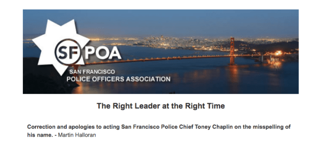 Snapshot of email sent by the SFPOA announcing their endorsement of acting chief Toney Chaplin