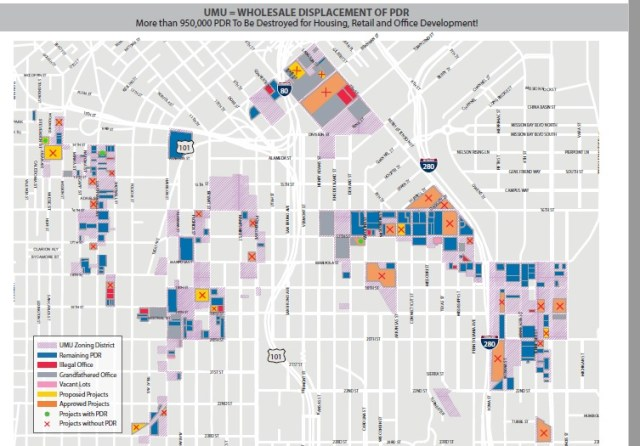 This chart shows all of the PDR space that has been lost or is threated in the parts of the city zones for Urban Mixed Use