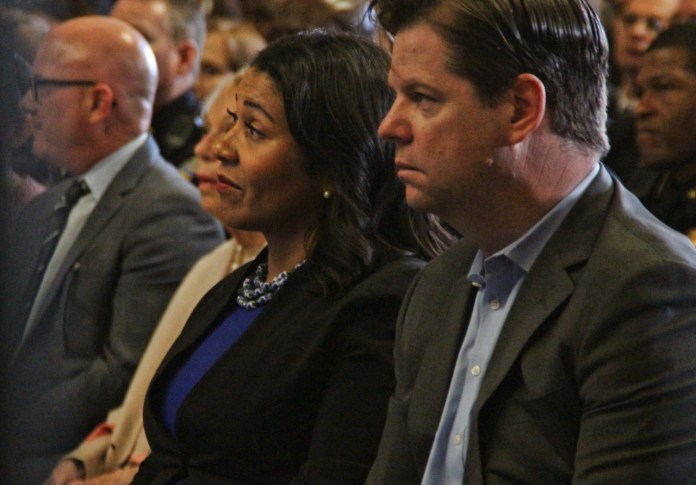 President London Breed & Sup. Mark Farrell listen to the Mayor's state of the city address on Thursday Jan 26th 2016. Photo by Sana Saleem.