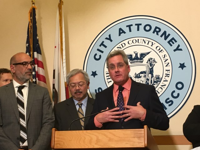 City attorney Dennis Herrera and Mayor Ed Lee announce a lawsuit against President Trump