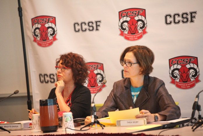 Board president Thea Selby and Trustee Brigitte Davila both voted for the Rocha contract. Photo by Cassie Ordonio