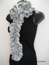 how to Crochet ruffle rose scarf free pattern tutorial for
