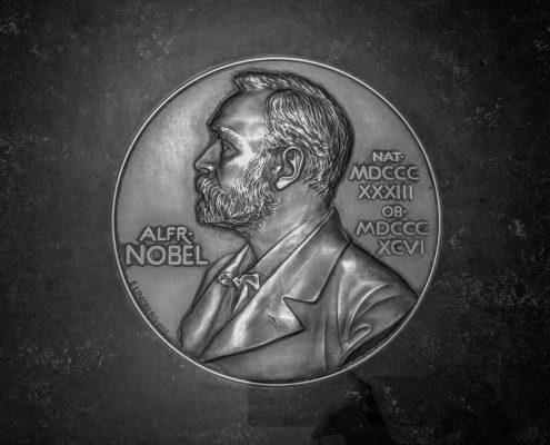 Nobel metalwork embedded in floor. Nobel Museum. Stockholm, Sweden. (c) Allan LEONARD @MrUlster