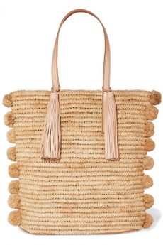 POMPOM-EMBELLISHED LEATHER TRIMMED WOVEN RAFFIA TOTE