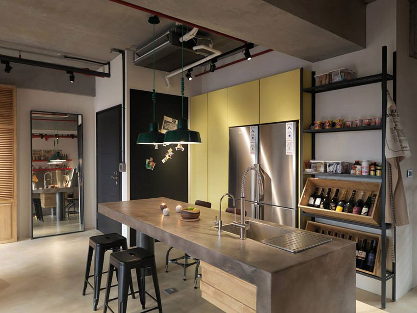 nice kitchen tables snake sink industrial loft apartment with red accents in taipei ...