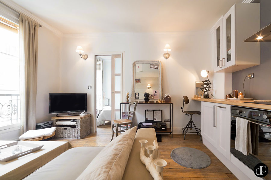 Functional and Small Apartment Interior Design in Muted colors Paris