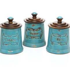 Country Kitchen Canister Sets Ceramic Island With Breakfast Bar Decorative Canisters And Jars