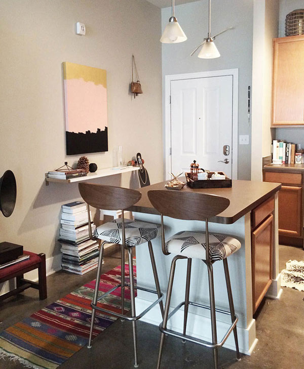 space saving kitchen table pub style creative do-it-yourself design for studio loft apartment ...