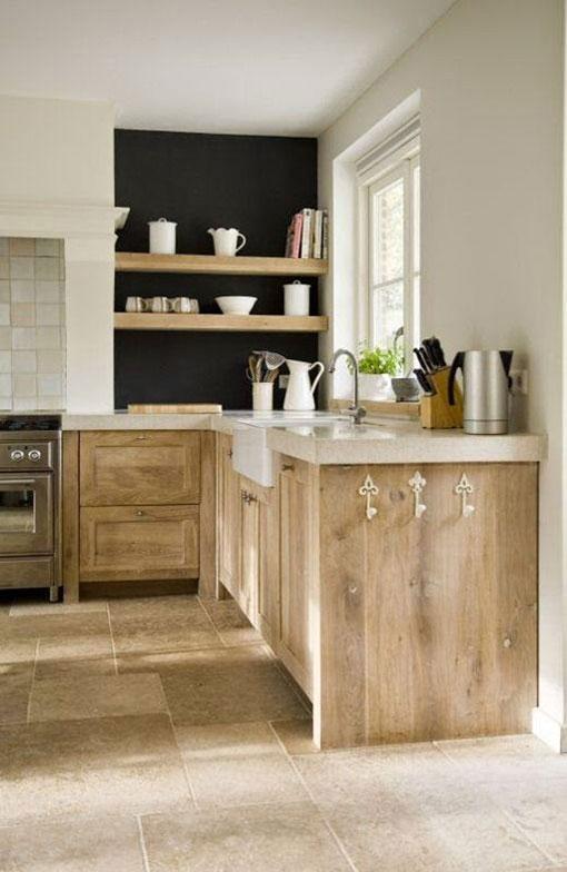 White Pickled Cabinets Kitchen