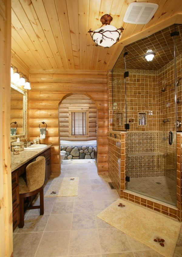 30 Warm and Cozy Log Bathroom Design Ideas