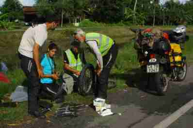 Malaysia-Shan's turn for a puncture
