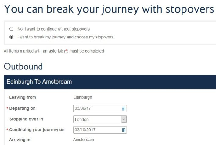 British Airways Avios Free Stopover