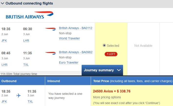 British Airways Avios New York to Berlin