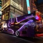 Disney Aladdin bus illuminated in Times Square NYC