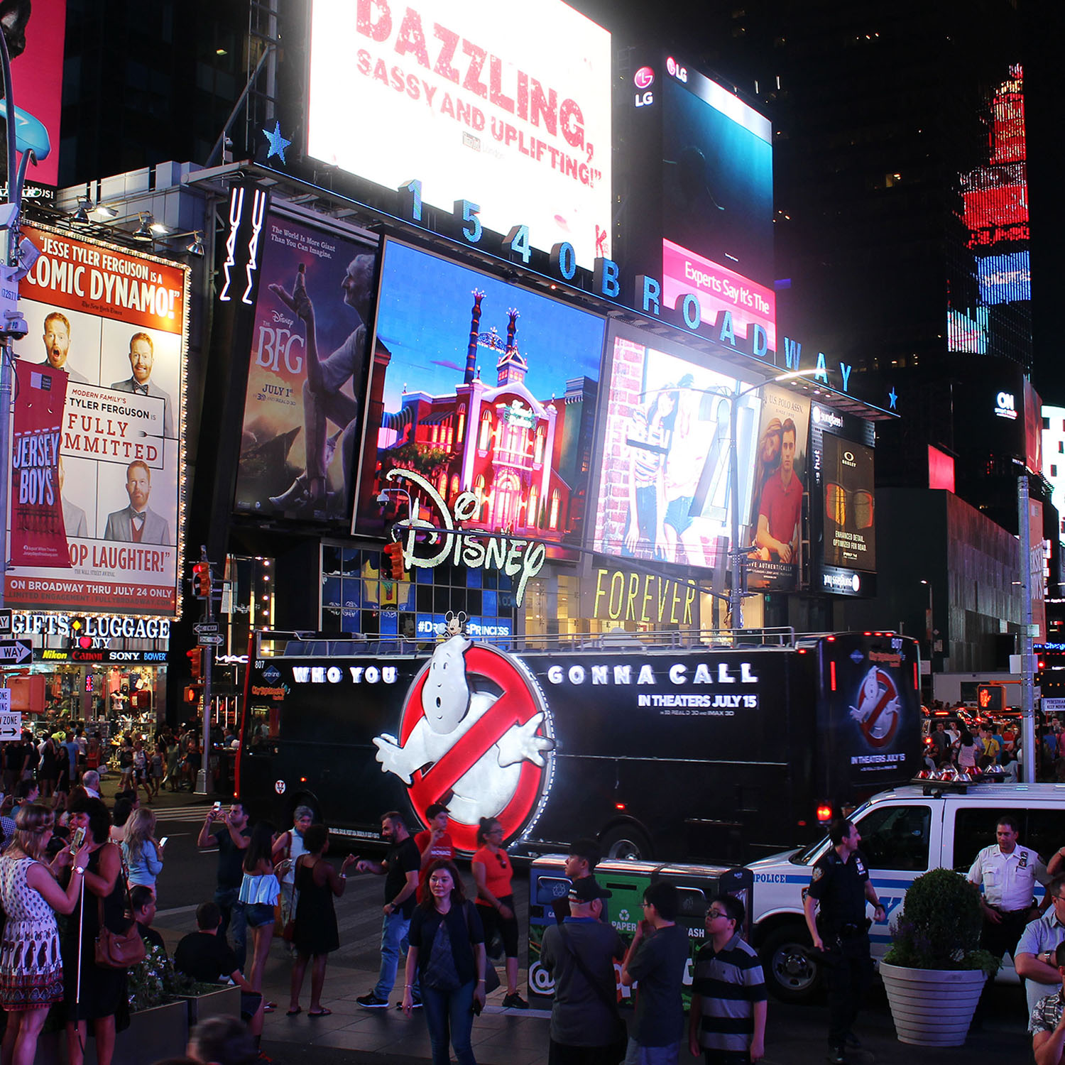 Ghostbusters bus illuminated in Times Square NYC