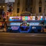 Hotel Transylvania 3 bus illuminated at Pantages Theater Los Angeles