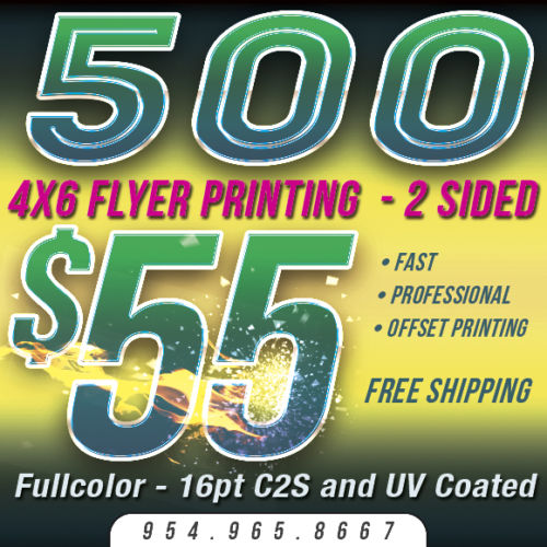 500 4x6 Custom FLYER Printing - 1 or 2 Sides - 16pt - UV Coating
