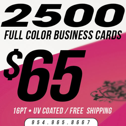 2500 Custom Business Cards Printing - 16pt UV Gloss! - Full Color