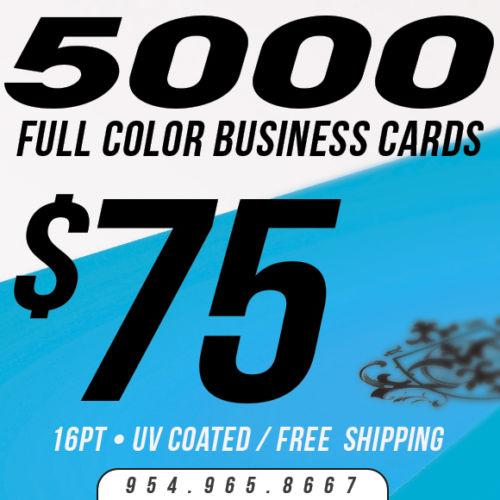 5000 Custom Business Cards Printing - 16pt UV Gloss! - Full Color
