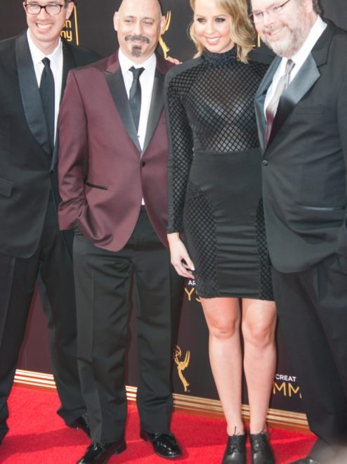 Mike Fasolo (writer), Tom Root (writer), Matthew Senreich (creator), and Deirdre Devlin (writer) Emmy's Creative Arts 2016 Red Carpet 4Chion Lifestyle