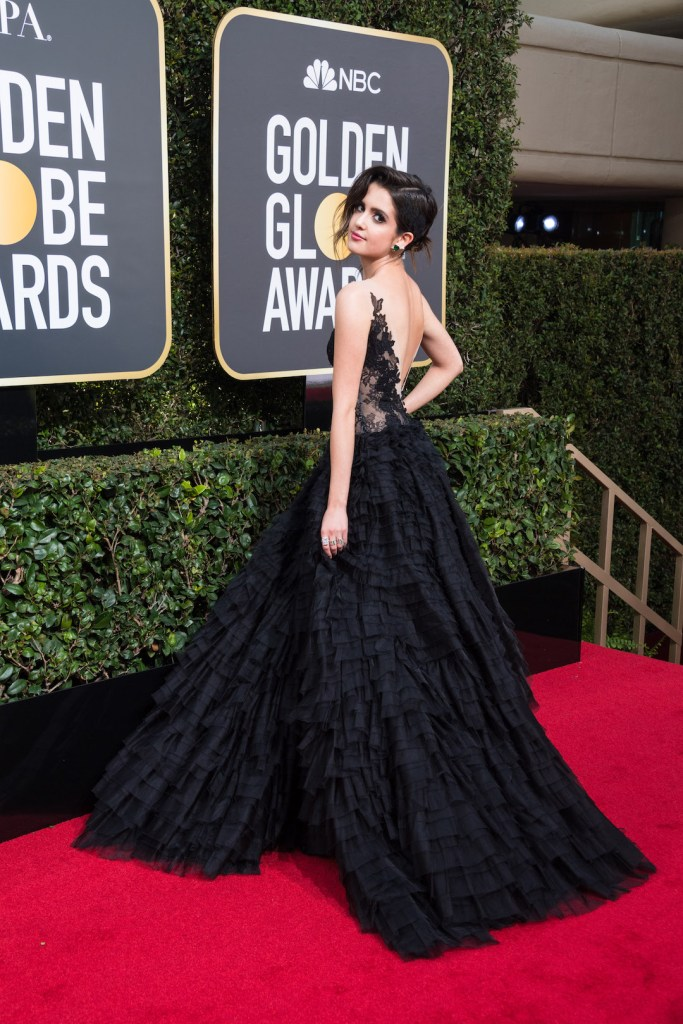 Laura Marano arrives at the 75th Annual Golden Globe Awards 4chion lifestyle