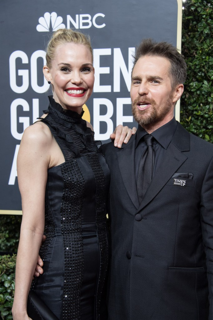 Leslie Bibb and Sam Rockwell, arrive at 75th Annual Golden Globe Awards 4chion lifestyle